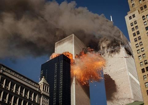 Nine eleven burning buildings